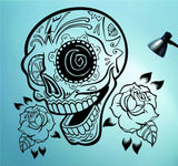Sugarskull Version 22 with Roses Wall Vinyl Decal Sticker Art Graphic Sticker Sugar Skull - ezwalldecals  - vinyl decal - vinyl sticker - decals - stickers - wall decal - jdm decal - vinyl stickers - vinyl decals - 1