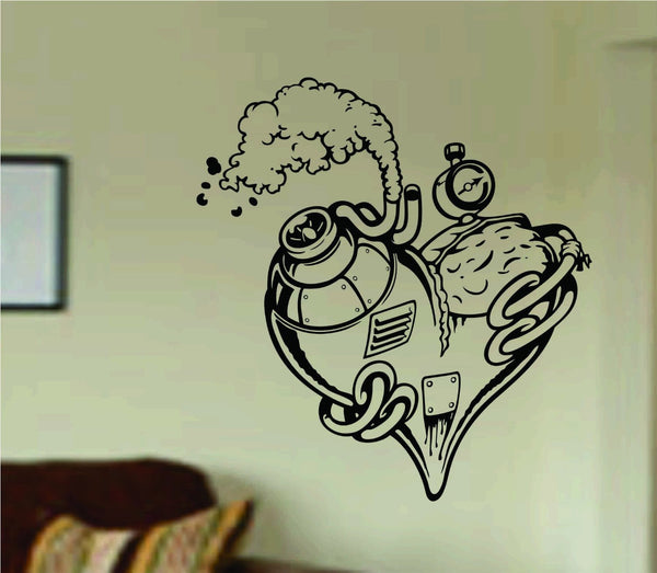 Steampunk Heart Wall Vinyl Decal Sticker Art Graphic Sticker Sugar Skull Sugarskull - ezwalldecals  - vinyl decal - vinyl sticker - decals - stickers - wall decal - jdm decal - vinyl stickers - vinyl decals - 1
