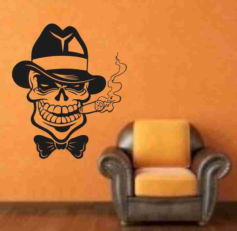 Skull Version 120 Bones Cigar  Wall Vinyl Decal Sticker Art Graphic Sticker Skulls - ezwalldecals  - vinyl decal - vinyl sticker - decals - stickers - wall decal - jdm decal - vinyl stickers - vinyl decals - 1