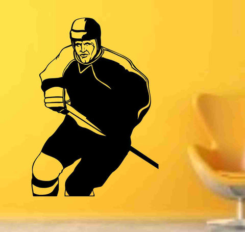 Hockey Version 119 Ice Hockey Player Wall Vinyl Wall Decal Sticker Art Sports Kid Children Nursery Boy Teen - ezwalldecals  - vinyl decal - vinyl sticker - decals - stickers - wall decal - jdm decal - vinyl stickers - vinyl decals - 1