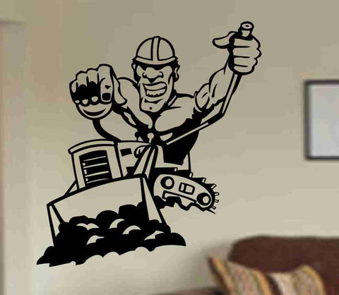 Bulldozer and Construction Worker Decal , Boys Decal, Boys Room, Playroom Decal, Kids Wall Decal Sticker - ezwalldecals  - vinyl decal - vinyl sticker - decals - stickers - wall decal - jdm decal - vinyl stickers - vinyl decals - 1