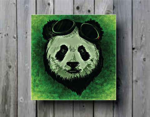 Abstract Panda with Goggles Art Background Photo Panel - Durable Finish - High Definition - High Gloss