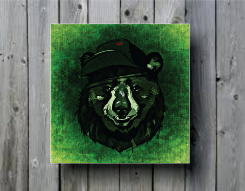 Abstract Bear with Hat Art Background Photo Panel - Durable Finish - High Definition - High Gloss
