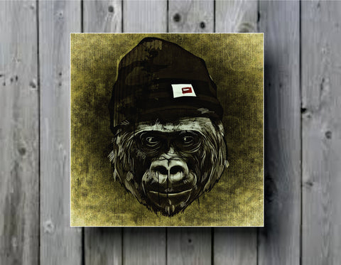 Abstract Monkey with Beaniet Art Background Photo Panel - Durable Finish - High Definition - High Gloss