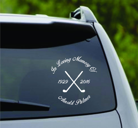 In Loving Memory Arnold Palmer Version 1 - Car Window Windshield Lettering Decal Sticker Decals Stickers - ezwalldecals  - vinyl decal - vinyl sticker - decals - stickers - wall decal - jdm decal - vinyl stickers - vinyl decals - 1