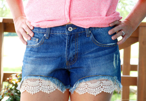 Embroidered Lace Trim Denim Shorts