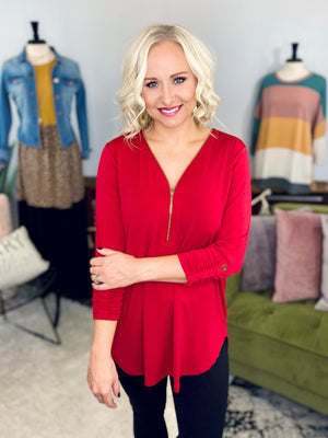 Red Zip Front Top
