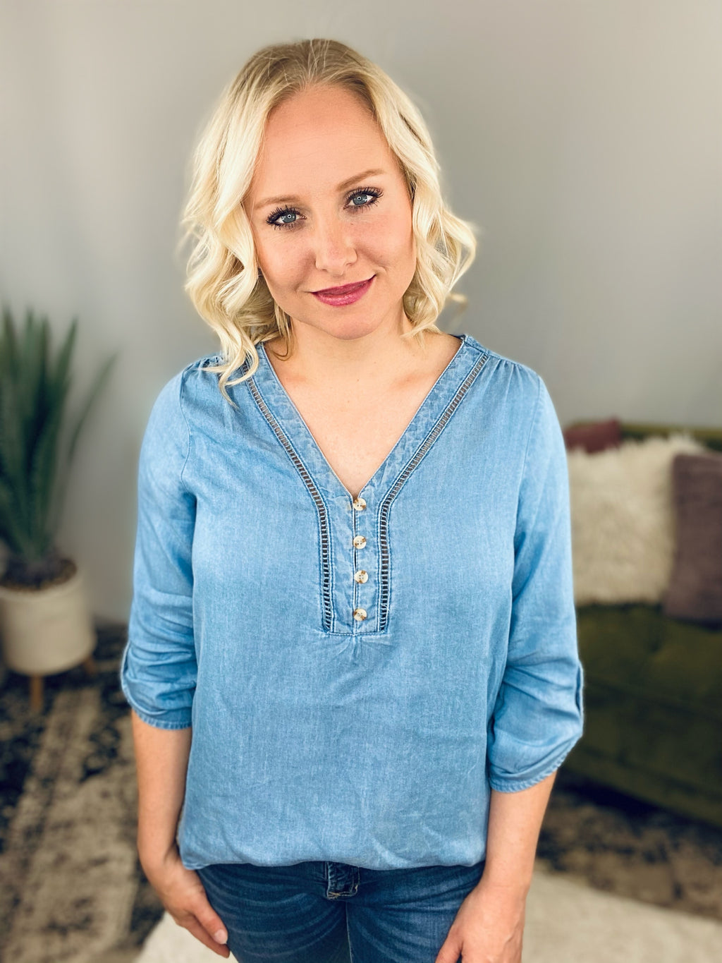 Chambray Ladder Lace Top