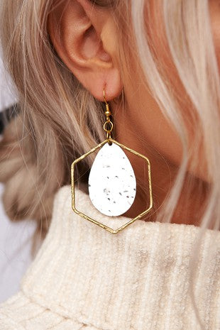 Gold & Silver Layered Hex Earrings