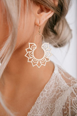 Gold Boho Lotus Earrings