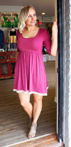Berry Fit & Flarey Sweater Dress