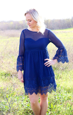 Navy Crochet Sweetheart Dress