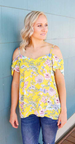 Pocket Full Of Posies Cold Shoulder Top