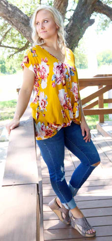 Maribel Mustard Wrap Top