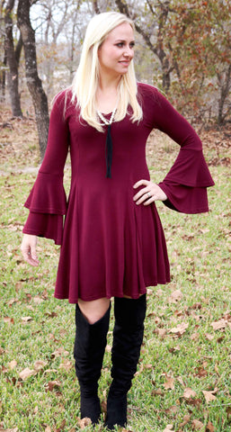 Burgundy Flair Dress