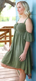 Olive Smocked Open Shoulder Dress