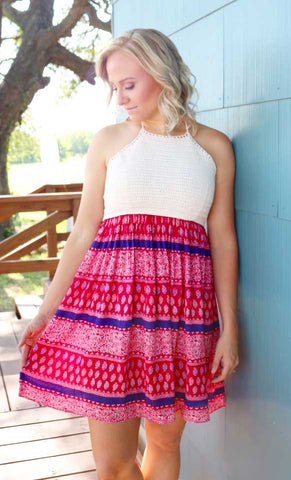 Cora Crochet Halter Dress