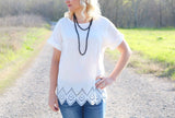 White Laser Cut Blouse