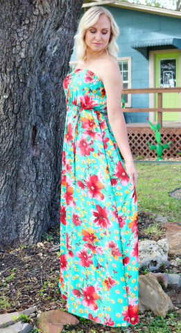 Hawaiian Floral Strapless Maxi Dress