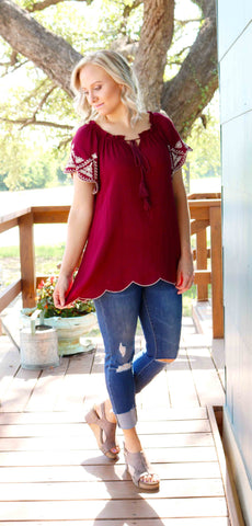 Scarlet Scalloped Embroidered Top