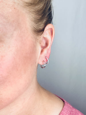 Tiny Double Hoop Hug Earrings