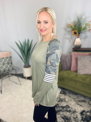 Olive Camo & Stripe Sleeve Top