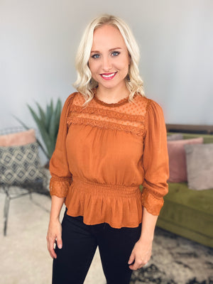 Smocked Waist & Lace Top