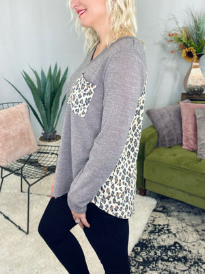 Mocha & Leopard Pocket Top