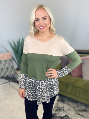 Olive Button Back Color Block Top