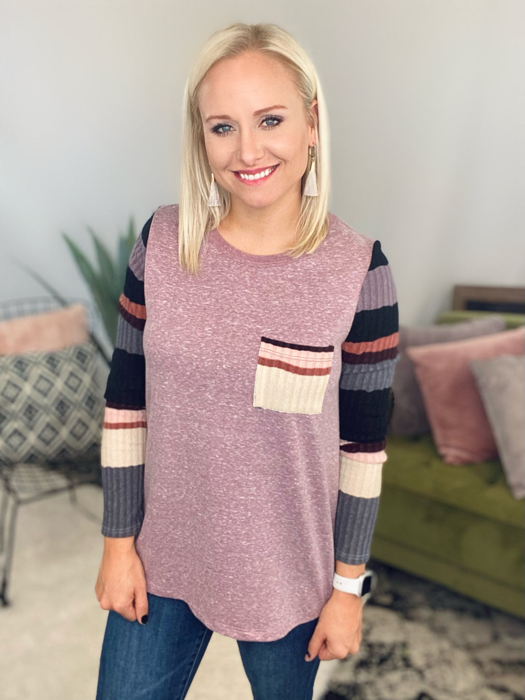 Mauve Stripe Sleeve Pocket Top