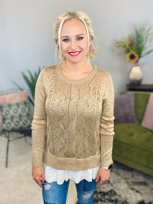 Taupe Eyelet Lace Trimmed Sweater