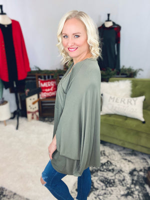 Oversized Olive Dolman Top