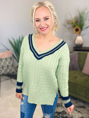 Preppy Cable Knit Sweater