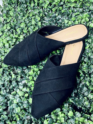 Cross Band Black Mules