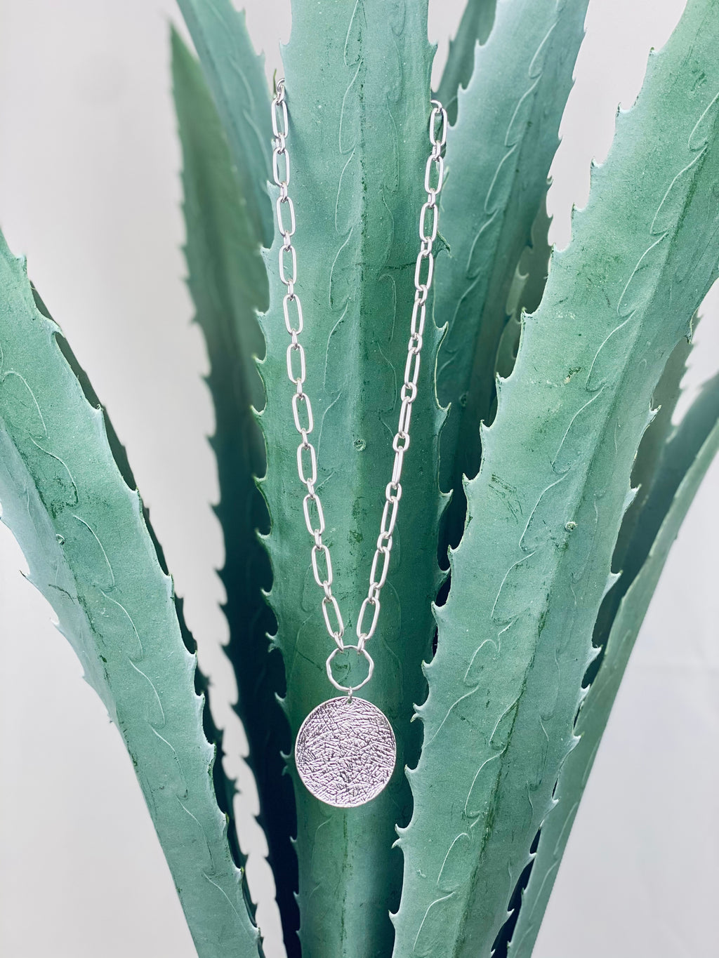 Silver Textured Coin Chain Necklace