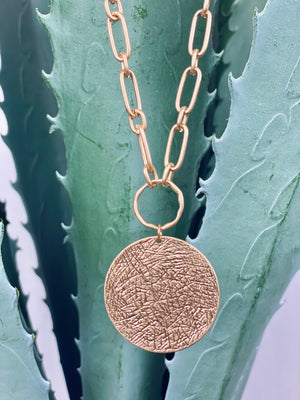 Gold Textured Coin Chain Necklace