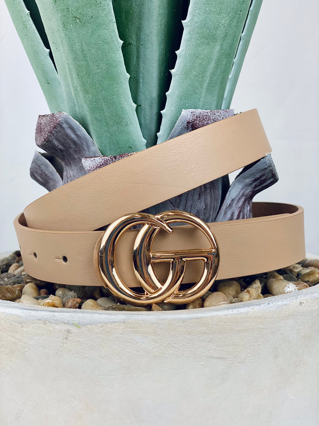 Taupe Gold Buckle Belt