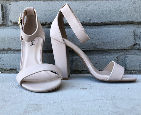 Chunky Open Toe Strappy Heel