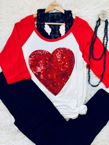 Solid Sleeve Sequin Heart Plus Tunic
