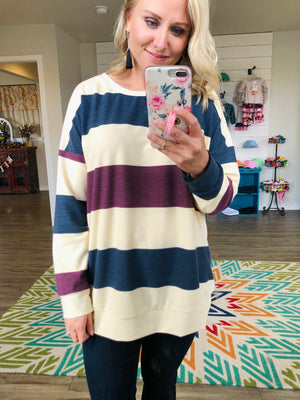 Creamy Striped Color Block Top