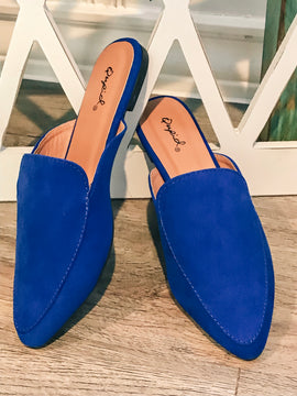 Classy Cobalt Loafer Mules