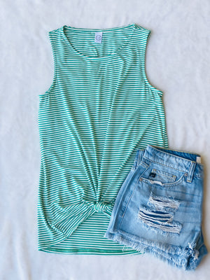 This green and white micro-stripe tank has the cutest cutout in the back and is perfect for hot summer days!   95% Rayon 5% Spandex
