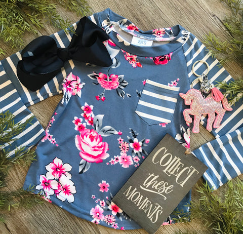 Eggshell Floral Striped Girls Raglan Top