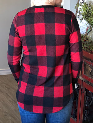 Buffalo Plaid Pocket Top