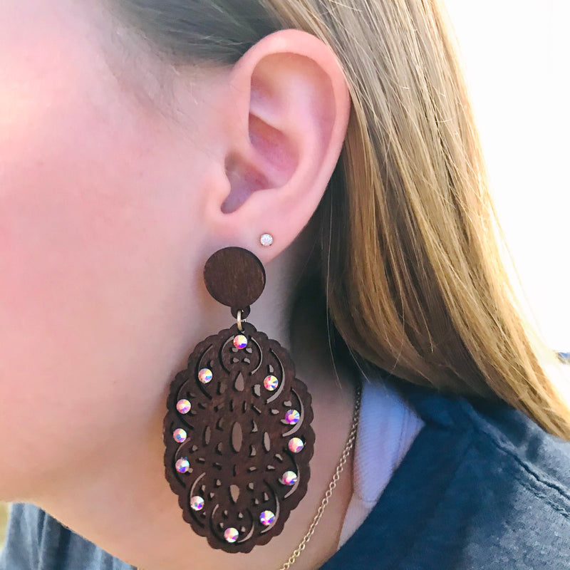 Wooden Scroll Earring