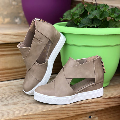 eaabb6f2b38 Melody Taupe Criss Cross Wedge Sneaker – The Pricklee Pear Boutique