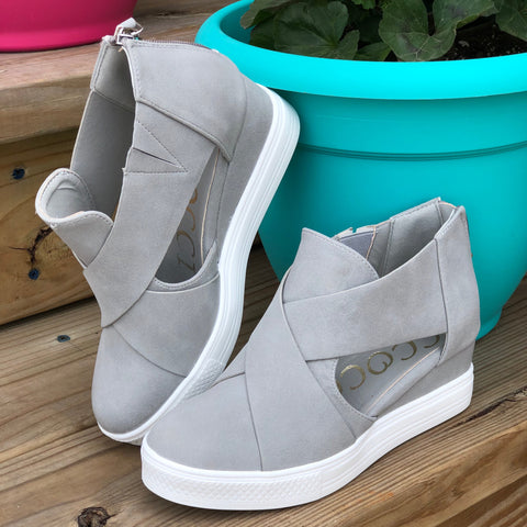 b8ed4b791b4 Melody Grey Criss Cross Wedge Sneaker – The Pricklee Pear Boutique