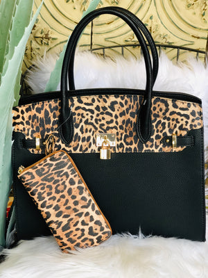 Leopard Trim Archer Bag w/ Wallet