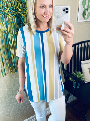 Blue & Gold Striped Top