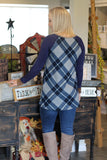Nearly Perfect Navy Plaid Top